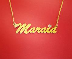 *Free shipping*  Diamond name necklace can be a beautiful Valentines day gift for your special someone.  This 14k gold name necklace with a Gold Name Necklace, Valentine Day Gifts, Diamond Jewelry, Anniversary Gifts, Names, Free Shipping, Unique Jewelry, Handmade Gifts, Beautiful