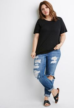 Boxy Distressed Tee   Forever 21 PLUS - 2000131838