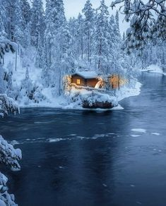 """""""Winter fairy tale""""❄️ Photo by Beautiful Places, Beautiful Pictures, Cabin In The Woods, Winter Fairy, Winter Cabin, Winter Scenery, Cabins And Cottages, Winter Wonder, Winter Landscape"""