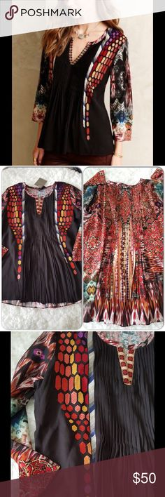 NWT Anthropology top Beautiful vibrant colors, embroided design at front and pleated detail at back, size XS but can fits S comfortably. Brand new with tag, was a bit small for me so i got me another sized up Anthropologie Tops
