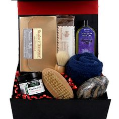 "This ""Pamper him"" gift box hamper comes filled with great items for male pampering, includes old fashioned shaving brush, shaving oil and vitamin E gel. Along with the pamper items there are some delicious indulgent treats including fudge and a choice of Toffees, Drambuie truffle or Whiskey fudge! Perfect unique gift for him"