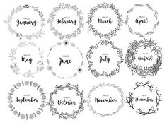 JOURNAL MONTHLY COVERS, wreath, monthly, bullet journal, printable bullet journal, pdf, cute, journaling, diary, month, organizational This listing is for a set of 12 monthly covers. They are letter size, in PDF format and PNGformat. Perfect for use in scrapbooking, classrooms,