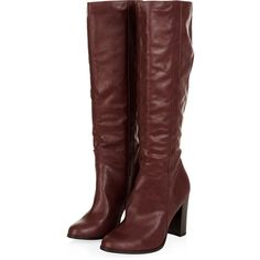 Dark Red Knee Length Block Heel Boots (900 MXN) ❤ liked on Polyvore featuring shoes, boots, knee-length boots, faux leather boots, vegan boots, knee high boots and block heel boots