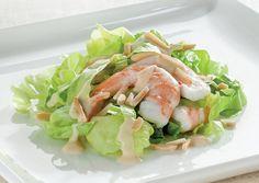 Condividi la ricetta: Insalata verde con yogurt, gamberetti e mandorle tostate