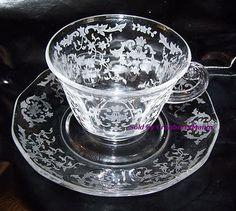 Vintage Fostoria Lafayette Navarre Etched Glass Cup & Saucer G646