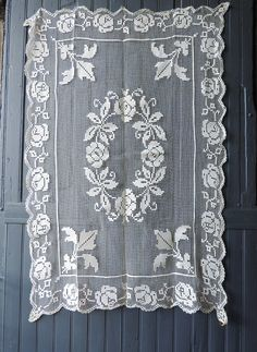 Vintage French hand made fillet lace table cloth by Frenchidyll