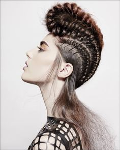 15 Foremost Braided Mohawk Hairstyles - Mohawk With Braids Braided Mohawk Hairstyles, Up Hairstyles, Mohawks, Tribal Hair, Avant Garde Hair, Corte Y Color, Editorial Hair, Fantasy Hair, Hair Shows