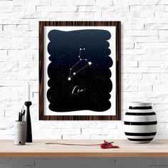 Arte de pared de constelación de zodiaco Leo imprimible 8 x 10