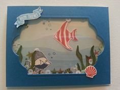 Stampin Up shaker card made from the Seaside Shore stamp set.