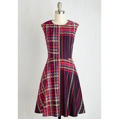 Mid-length Sleeveless Fit & Flare Talk Show and Tell Dress ($170) ❤ liked on Polyvore featuring dresses, mid length dresses, sleeveless fit and flare dress, tartan dress, sleeveless dress e a line dress