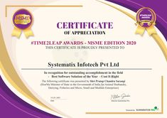 We are thrilled to announce that Cost-IT-Right has been awarded The Best Software Solution of the Year – #Time2Leap National Awards- MSME Edition 2020, an achievement that highlights the difference that Cost-IT-Right has made for our automotive and engineering manufacturing customers! #proud #thankful #costitright #costestimationsoftware #bestsoftware #softwareoftheyear #teamsystematix Certificate Of Appreciation, Highlights, Software, Awards, Engineering, Thankful, Good Things, Luminizer, Hair Highlights