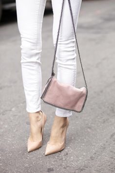 Stella McCartney Chain Bag + Louboutin Nude Pumps http://FashionCognoscente.blogspot.com