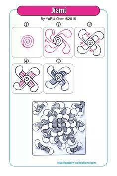 Jiami-by-YuRu-Chen. Zentangle Drawings, Doodles Zentangles, Doodle Drawings, Doodle Art, Zen Doodle Patterns, Zentangle Patterns, Doodle Borders, Tangle Doodle, Tangle Art