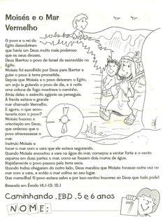 CANTINHO DAS HISTÓRIAS BÍBLICAS: LIÇÃO BÍBLICA INFANTIL MOISÉS E O MAR VERMELHO Homeschool, Bible, Education, Memes, Creative, Kids, Samara, Kids Study, Kids Bible Studies