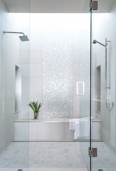 Bath tile- thinking of glossy glass mosaics for first floor guest bathroom...again, in shower and probably boxing in round bath