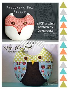Max the Owl and Philomena Fox PDF Sewing Pattern