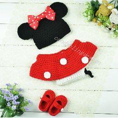 mini handmade knitted hat ,Newborn Baby Girl Crochet  Mickey Mouse Earflap Hat Diaper Cover Skirt Bootie Outfit Photography Props on Etsy, $17.99