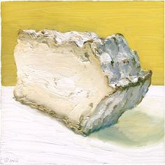 "TICKLEMORE : ""While there is much to discover on its edible, shell-shaped rind, the oozy texture beneath the rind leaves much for the palate to explore and has two distinct textures. Right below the rind, the cheese has a milky consistency with a sharper nutty taste, while towards the center, the cheese is more cakey and crumbly. "" I love the strange shape of this delicious cheese!    Original painting available for sale: http://mikegeno.com/cheese%20album/pages/134_Ticklemore.htm"