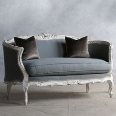 Vintage Find: Louis XV Settee with gold peeking through the antique white finish and slate blue upholstery Maybe cushions this color and paint chair in master French Furniture, Classic Furniture, Sofa Furniture, Rustic Furniture, Vintage Furniture, Funky Furniture, Furniture Stores, Cheap Furniture, Discount Furniture