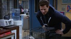 New party member! Tags: andy samberg kisses brooklyn nine-nine muah Parks N Rec, Parks And Recreation, Jake And Amy, Jake Peralta, Cat Jokes, Andy Samberg, Brooklyn Nine Nine, Best Shows Ever, New Trends