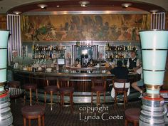 The original bar and fittings on the Queen Mary Hotel at Long Beach