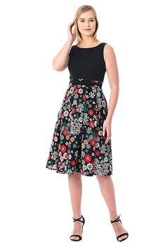 Bow Tied Floral Print Mixed Media Dress Eshakti Bodice Top Mix N Match