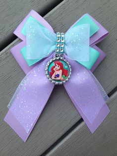 Girl's Disney princess little mermaid ariel Stack boutique hair bow 5 Inch #Handmade