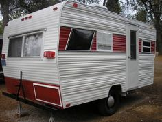 This looks a lot like our camper, except ours is longer.  But it's red and white on the outside, all painted with a 2 inch brush! Travel Trailer Camping, Camp Trailers, Tiny Trailers, Camping Glamping, Camping Ideas, Old Campers, Retro Campers, Vintage Campers Trailers, Little Trailer