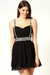 Emily Embellished Ruched Detail Prom Dress