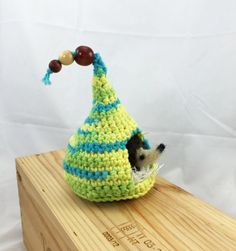 Needle felted baby hedgehog with crocheted play hut, child toy, nursery decor, pocket pet, yellow blue green