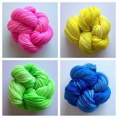 Mini skeins! These are great if money is tight, but you'd still like to buy a natural earth friendly yarn. Colors: mostly solid - yellow, hot pink, blue sapphire, lime green (I use only professional grade acid dyes)  Yards: +\- 114 yards  Weight: worsted weight  Fiber: 100% superwash merino  Care instructions: machine wash gentle cycle, lay flat to dry #yarn #handdyedyarn #yarnbaby #crochet #knit