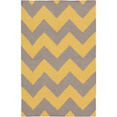 Hand-woven Mustard Chevron Yellow Wool Rug (5' x 8') | Overstock.com Shopping - Great Deals on 5x8 - 6x9 Rugs