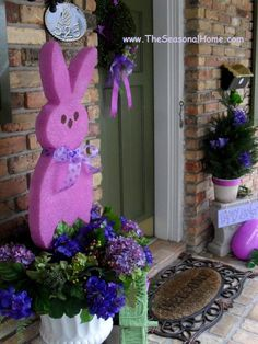 DIY Giant PEEPS Decor.   I think this would be really easy to make out of Styrofoam and then painted or glittered.