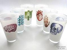 color Anatomy Beer Pint Glasses 16 oz. set of 6 anatomical heart nurse medical student doctor gift