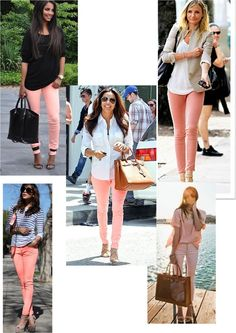 I just bought these peach pants. Ideas for wearing them. Peach Pants Outfit, Colored Pants Outfits, Jeggings Outfit, Colored Jeans, Mom Outfits, Spring Outfits, Casual Outfits, Cute Outfits, Fashion Outfits