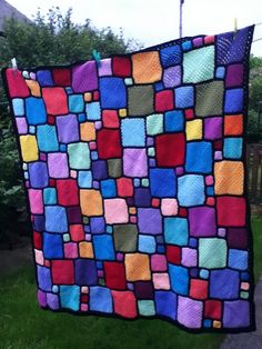 Ravelry: nittynora's Roger's blockwork blanket - No Pattern. Love the colors and layout.