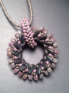 Beth Stone Designs. Seed bead woven pendant
