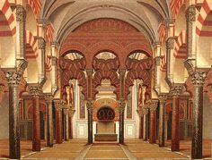 La característica hornacina labrada en el muro de la quibla para hacer de mihrab toma en la Mezquita de Córdoba forma de octógono cubierto por una pequeña cúpula en forma de concha, sujetada con seis arcos polilobulados. Al mihrab se accede a través de un gran arco de herradura con su correspondiente alfiz, sobre el que se observan una serie de arcos polilobulados que encuadran una decoración vegetal, realizada en mosaico sobre fondo de oro.
