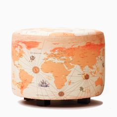 Old World Map Oval Ottoman