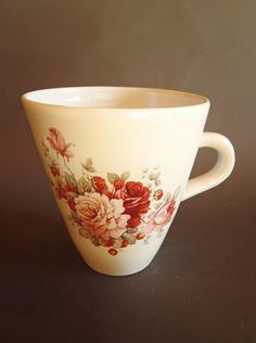 Hand thrown ceramic cup/mug with roses and by kelverum on Etsy, $36.00