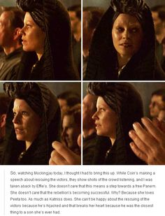 That's not how I saw it...to me, she saw that Plutarch was mouthing the words of the speech along with Coin, just like she had done with President Snow's words. It's a parallel! Coin would be a dictator, just like Snow.