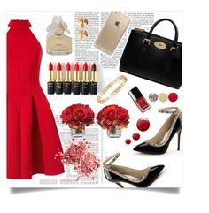 """""""Red Dress"""" by forevagorgeous ❤ liked on Polyvore featuring Miss Selfridge, Victoria Beckham, Mulberry, L'Oréal Paris, Chanel, Eddie Borgo, Cartier, Topshop, Rifle Paper Co and Marc by Marc Jacobs"""