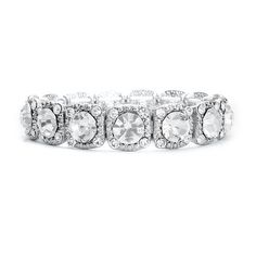"""Bracelet with Crystals   Classy Sassy Bride This top-selling stretch bracelet with shimmering crystals is the perfect high fashion jewelry for bridesmaids, proms or homecomings. Our 1/2"""" w stretch bracelet is plated in silver rhodium and is available at a great price!"""