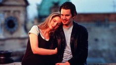 """Ethan Hawke and Julie Delpy are teaming up for a sequel to """"Before Sunrise"""" and """"Before Sunset."""" The title of the film is supposedly set to be """"Before Midnight Before Sunset Movie, Sunset Movies, Before Sunrise, Julie Delpy, Before Trilogy, Travel Movies, 10 Film, Ethan Hawke, Before Midnight"""