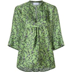 Christian Wijnants Tavel Blouse ($422) ❤ liked on Polyvore featuring tops, blouses, green blouse, christian wijnants, green silk blouse, silk top and green silk top