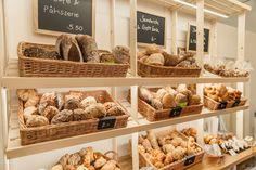 High quality swiss bread selection collected from local bakeries to avoid food waste. Bakery Shop Interior, Bakery Shop Design, Bakery Decor, Bakery Cafe, Bakery Shops, Coffee Shop, Bread Shop, Small Cafe Design, Cafe Concept