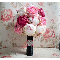 Cherry Blossom and Peony Wedding Bouquet Black and Pink Peony Bouquet (2,560 MXN) ❤ liked on Polyvore featuring home, home decor, floral decor, weddings, bouquets, decorations, grey, cherry blossom home decor, peony flower bouquet and pink home decor