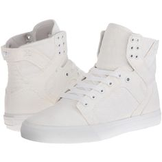 Supra Skytop D Women's Skate Shoes ($90) ❤ liked on Polyvore featuring shoes, supra footwear, lightweight shoes, canvas shoes, pointed shoes and pointy shoes
