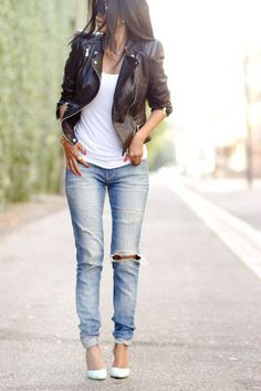 Jeans and a white T...always classic and sexy! find more women fashion ideas on www.misspool.com