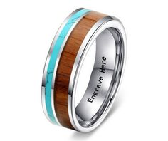 His and Her Couple Tungsten Carbide Wedding Ring with Wood & Turquoise Inlay - 6 mm / 8 mm
